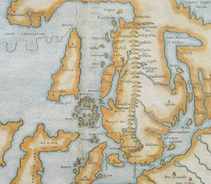 Old map with the Nordic countries